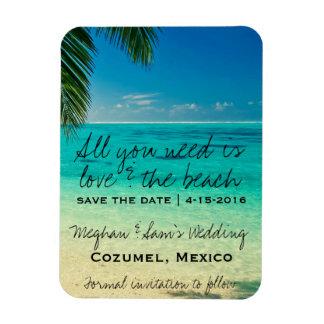 愛及びビーチ結婚式の保存の日付の磁石 マグネット