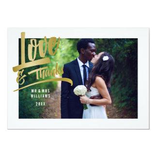 愛及び感謝 ののどの金ゴールドホイル の結婚の写真 カード