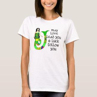 愛及び運のアイルランド人の人魚 Tシャツ