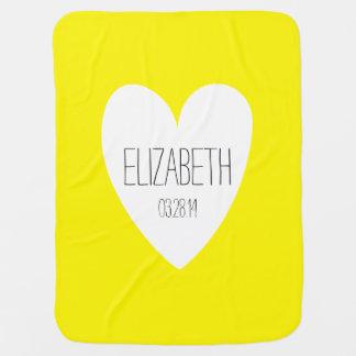 愛名前をカスタムするの生年月日の黄色のベビーブランケット ベビー ブランケット