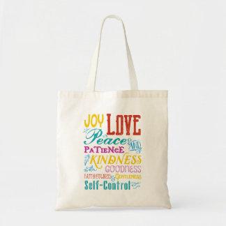 愛喜びの平和親切さの長所のタイポグラフィの芸術 トートバッグ