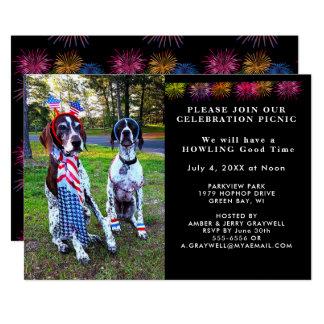 愛国心が強いお祝いのピクニックパーティーは招待状の後をつけます カード