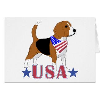 愛国心が強いすべてのアメリカ米国のビーグル犬 カード
