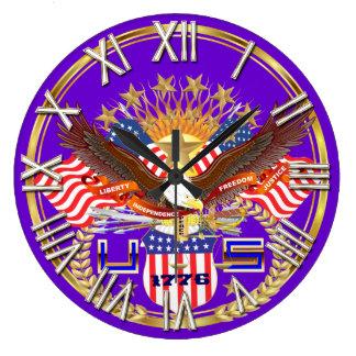 愛国心が強いまたは退役軍人の一突き1の眺めの芸術家のコメント ラージ壁時計