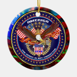 愛国心が強いまたは退役軍人の意見の芸術家のコメント セラミックオーナメント