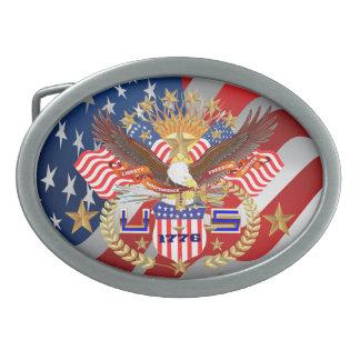 愛国心が強いまたは退役軍人の眺め 卵形バックル