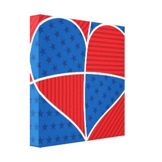 愛国心が強いアメリカのハート キャンバスプリント