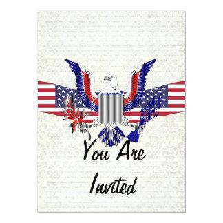 愛国心が強いアメリカのワシ及び旗 カード