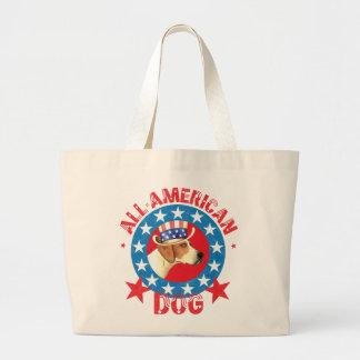 愛国心が強いアメリカFoxhound ラージトートバッグ
