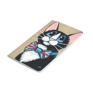 愛国心が強いイギリスのタキシード猫の身に着けているちょうネクタイの絵画 ポケットジャーナル