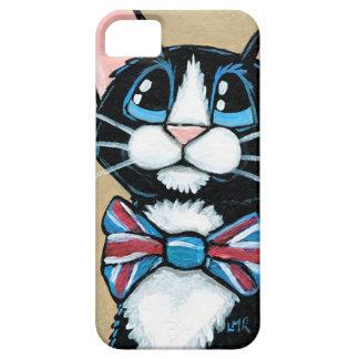 愛国心が強いイギリスのタキシード猫の身に着けているちょうネクタイの絵画 iPhone SE/5/5s ケース