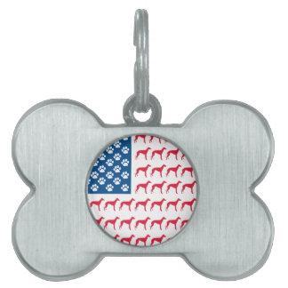愛国心が強いグレイハウンド犬 ペットネームタグ