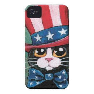 愛国心が強いタキシード猫の絵画 Case-Mate iPhone 4 ケース