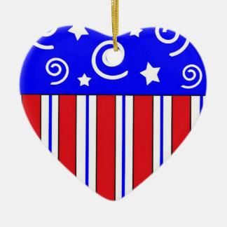 愛国心が強いハートのクリスマスのオーナメント セラミックオーナメント
