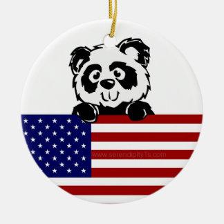 愛国心が強いパンダ セラミックオーナメント