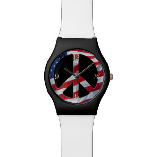 愛国心が強いピースマーク-米国の旗これ以上の戦争のテーマ 腕時計