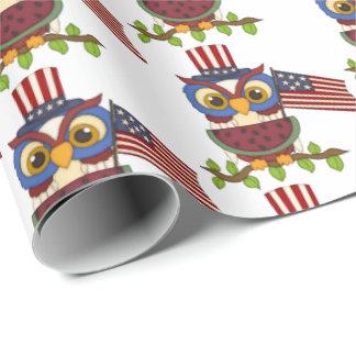 愛国心が強いフクロウのスイカのcookoutのパーティーの覆い ラッピングペーパー