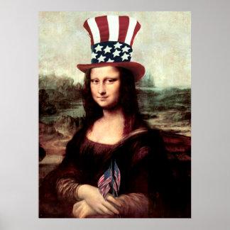 愛国心が強いモナ・リザ-独立記念日の間用意して下さい ポスター