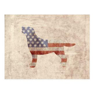 愛国心が強いラブラドールの輪郭の米国旗の郵便はがき はがき