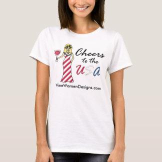 """愛国心が強いワインの女神""""米国への応援""""の広告宣伝 Tシャツ"""