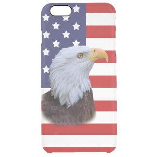 愛国心が強いワシおよびカスタマイズ可能な米国の旗 クリア iPhone 6 PLUSケース