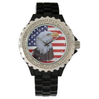 愛国心が強いワシおよびカスタマイズ可能な米国の旗 腕時計