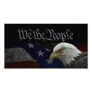 愛国心が強いワシ及び旗 フォトプリント