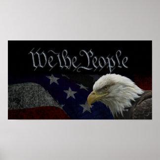 愛国心が強いワシ及び旗 ポスター