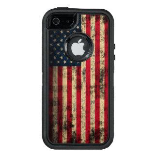 愛国心が強いヴィンテージのグランジな米国旗 オッターボックスディフェンダーiPhoneケース