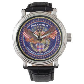 愛国心が強いヴィンテージの黒の革バンドの腕時計 腕時計