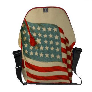 愛国心が強いヴィンテージ米国の旗 メッセンジャーバッグ