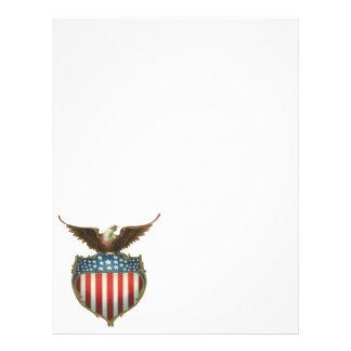 愛国心が強いヴィンテージ米国旗を持つ白頭鷲 チラシ