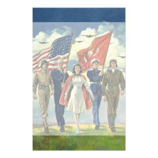 愛国心が強いヴィンテージ誇り高い軍人の英雄 便箋