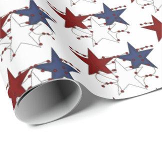 愛国心が強い国スタイルの星によってタイルを張られるパーティーの覆い ラッピングペーパー