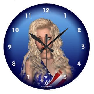 愛国心が強い失敗の独立ポートレートの柱時計 ラージ壁時計