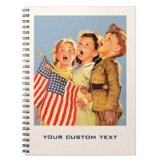 愛国心が強い子供の40年代のヴィンテージの絵のノート ノートブック