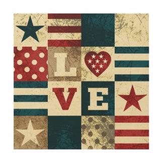 愛国心が強い愛アメリカ ウッドウォールアート
