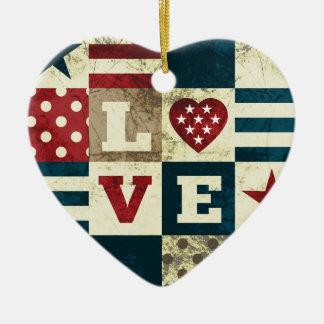 愛国心が強い愛アメリカ セラミックオーナメント