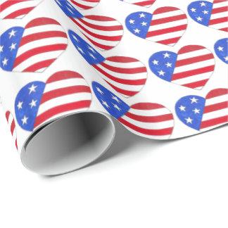 愛国心が強い愛米国の米国旗のハートのプリントのギフト ラッピングペーパー