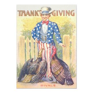 愛国心が強い感謝祭のトルコの米国市民白頭鷲 12.7 X 17.8 インビテーションカード