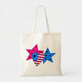 愛国心が強い星およびハートのバッグ トートバッグ