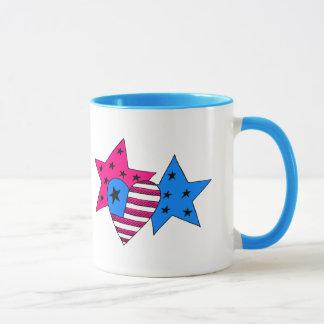 愛国心が強い星およびハートのマグ マグカップ