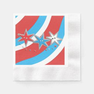 愛国心が強い星および渦巻形のなストライプ 縁ありカクテルナプキン
