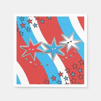 愛国心が強い星および渦巻形の縞で飾ります スタンダードカクテルナプキン