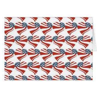 愛国心が強い星のストライプな自由の旗のハート第4の カード