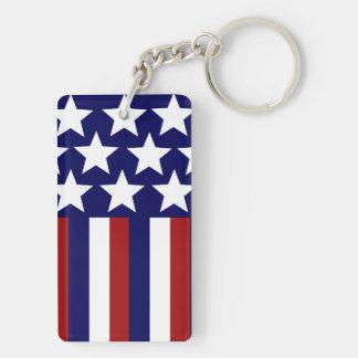 愛国心が強い星のストライプな自由の旗7月第4 キーホルダー