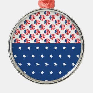 愛国心が強い星のストライプな自由の旗7月第4 メタルオーナメント