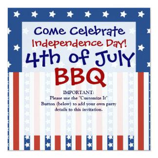 愛国心が強い星は7月の招待状の第4を縞で飾ります カード