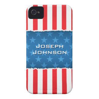 愛国心が強い星条旗のブラックベリーのはっきりしたな箱 Case-Mate iPhone 4 ケース