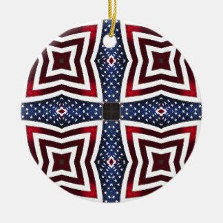 愛国心が強い星条旗の万華鏡のように千変万化するパターン セラミックオーナメント